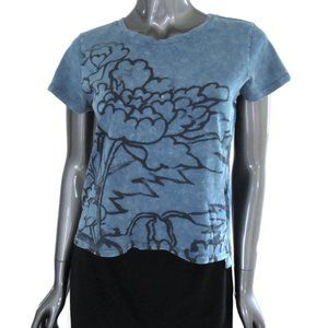 Lucky Brand Blue Cropped Vintage Wash Graphic Tee